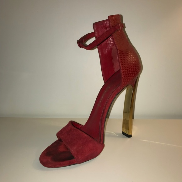 00d7aa0203 Casadei Shoes | Red Suede Lizard Gold Blade Heel Sandals | Poshmark